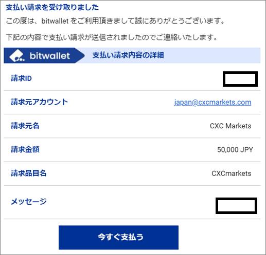 CXCmarketsのbitwallet入金